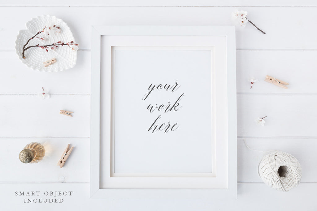 "Frame mockup - 8x10"" Portrait - Artist, crafts, soft and minimal background"