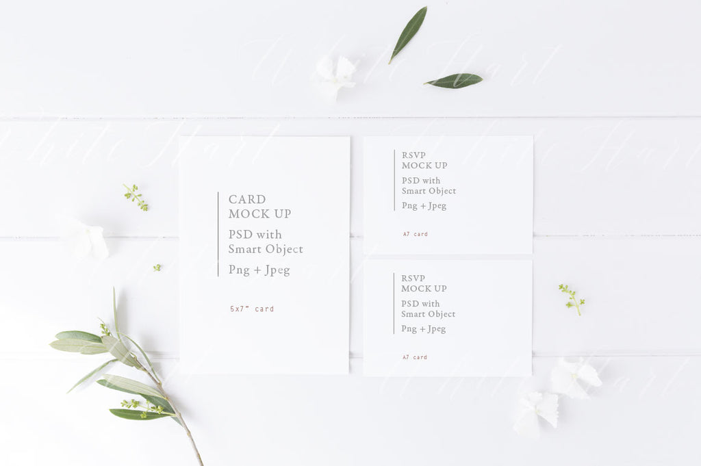Summer styled wedding stationery suite mock up