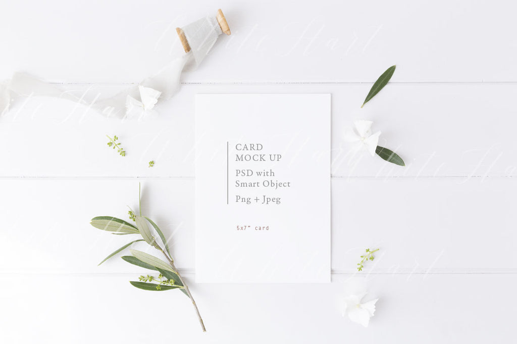 "5x7"" botanical styled card mock up"