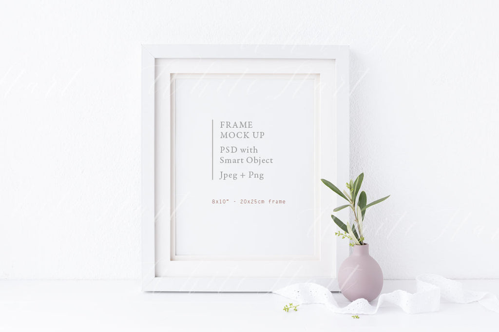 "8x10"" botanical white frame mock up"