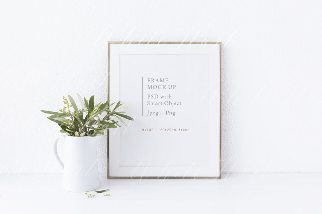 "8x10"" botanical Golden frame mock up"
