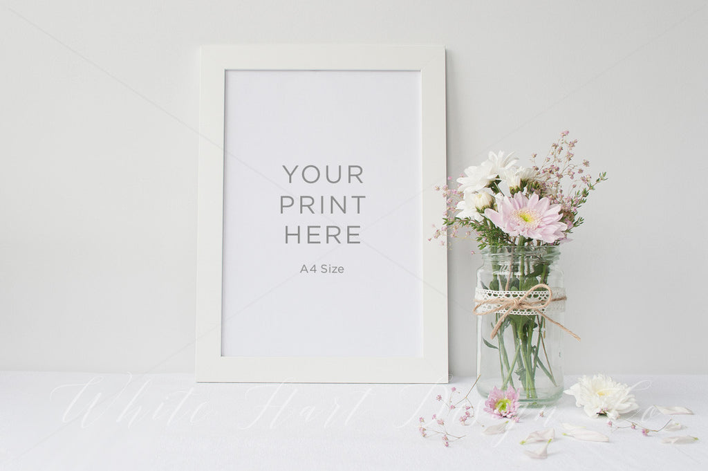 White floral frame mock up - A4 - 20x30cm - Psd file with a smart object included + High res Jpeg