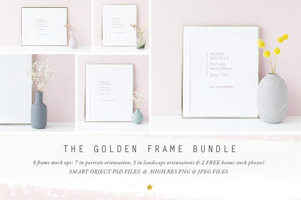 The Gold 8x10 Frame mock up BUNDLE