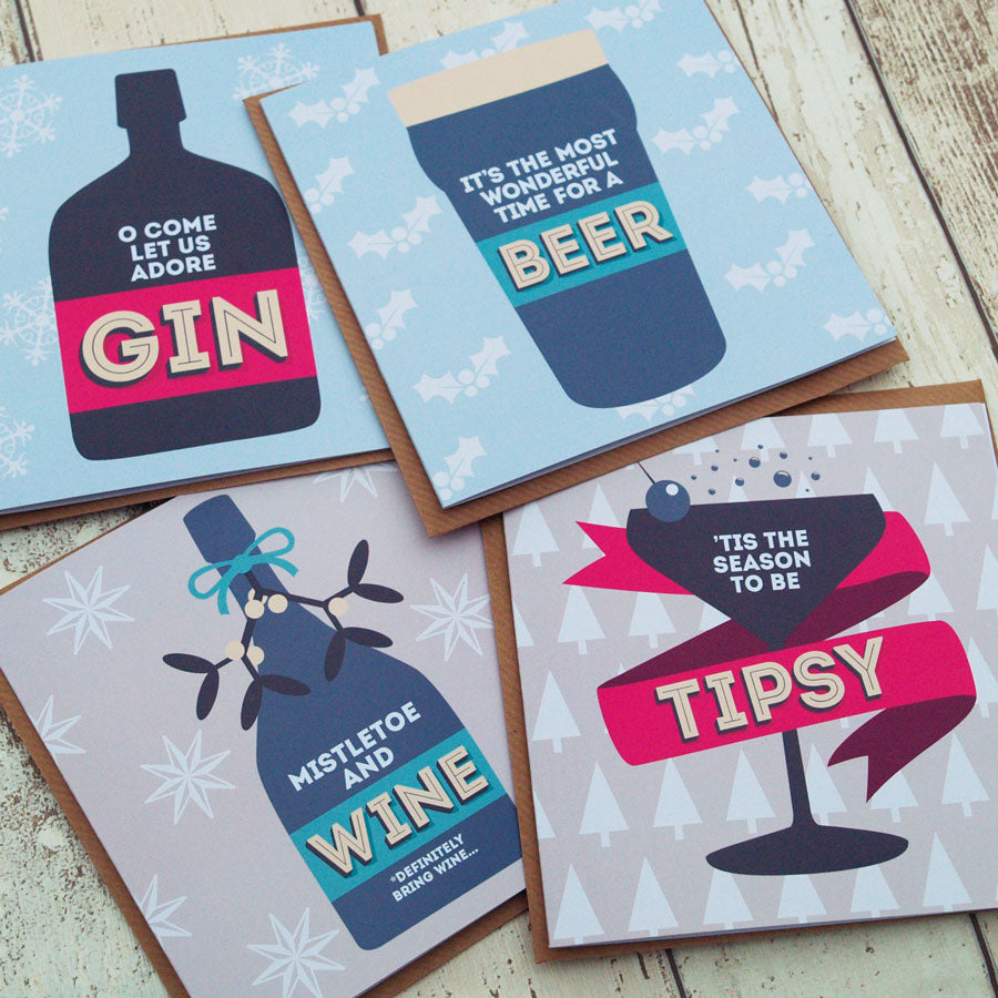O Come Let Us Adore Gin Christmas Card