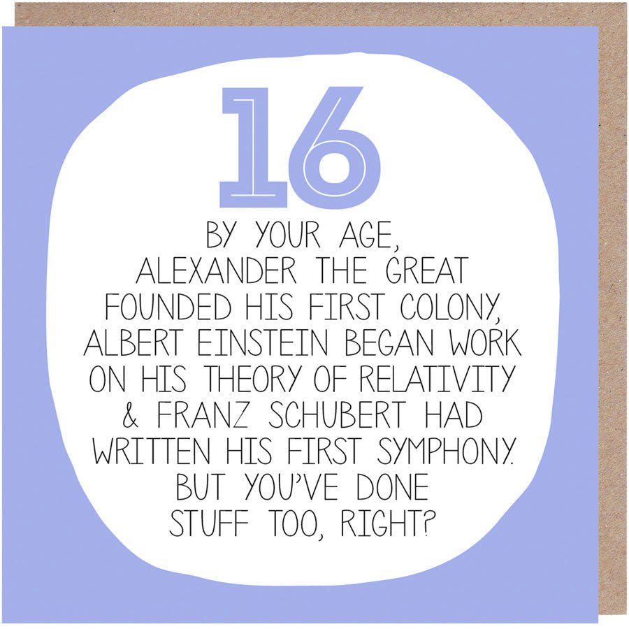funny 16th Birthday Card - By Your Age