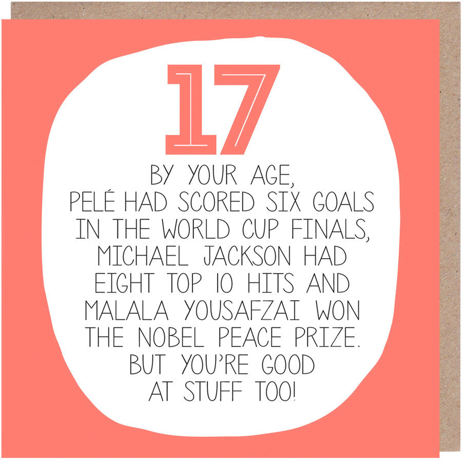 funny 17th Birthday Card - By Your Age