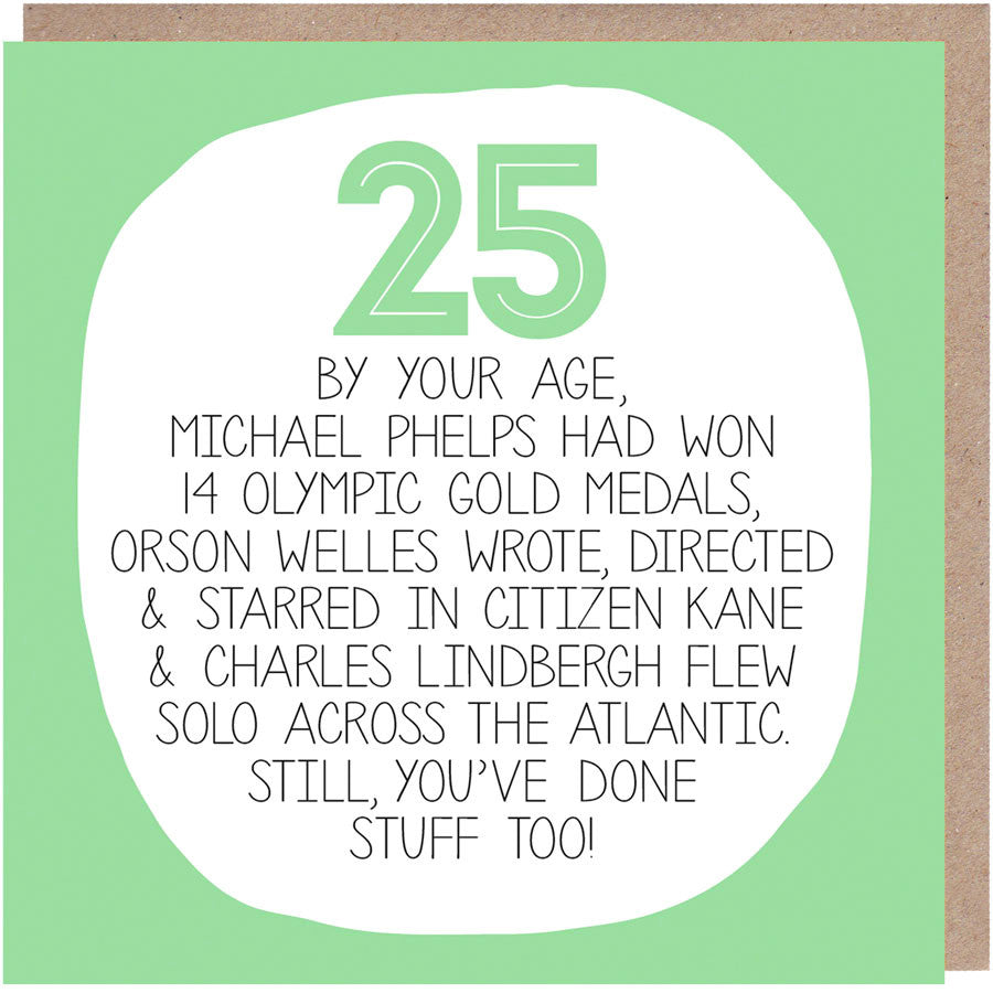 Funny 25th Birthday Card - By Your Age
