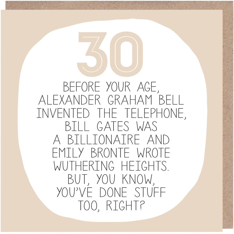 Funny 30th Birthday Card - By Your Age
