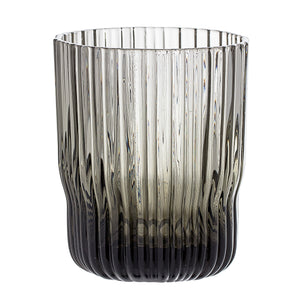 Ribbed Glass Smoked Grey Drinking Glass