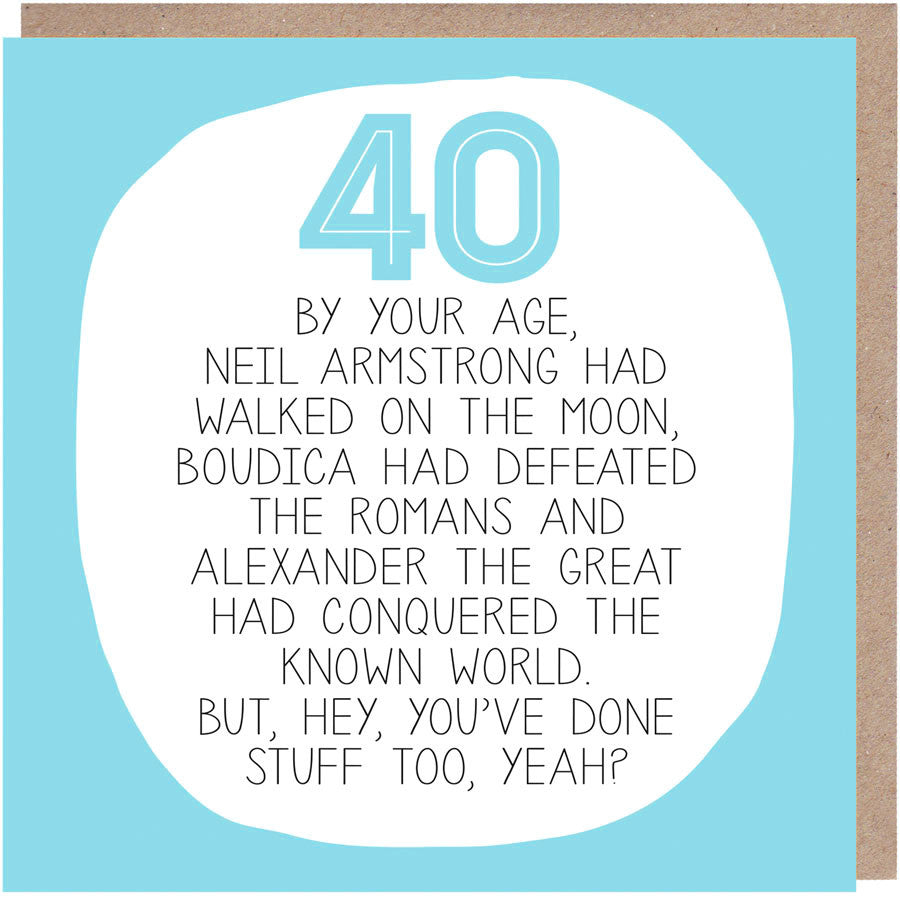 Funny 40th Birthday Card - By Your Age
