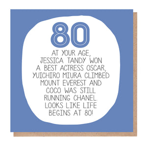 80th Birthday Card - At Your Age
