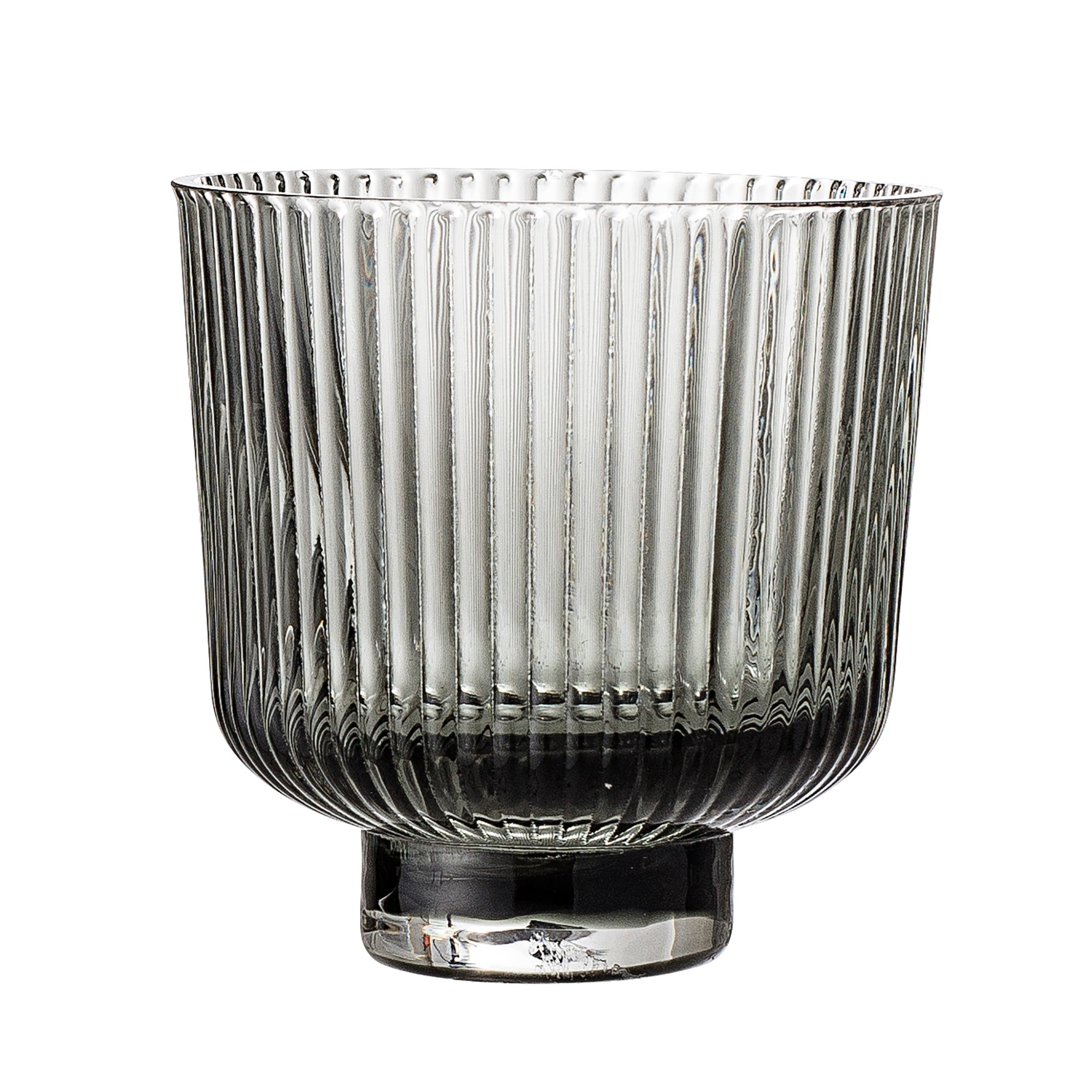 Ribbed Glass Plant Pot