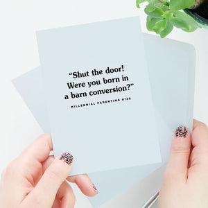 Were You Born In A Barn Conversion Card