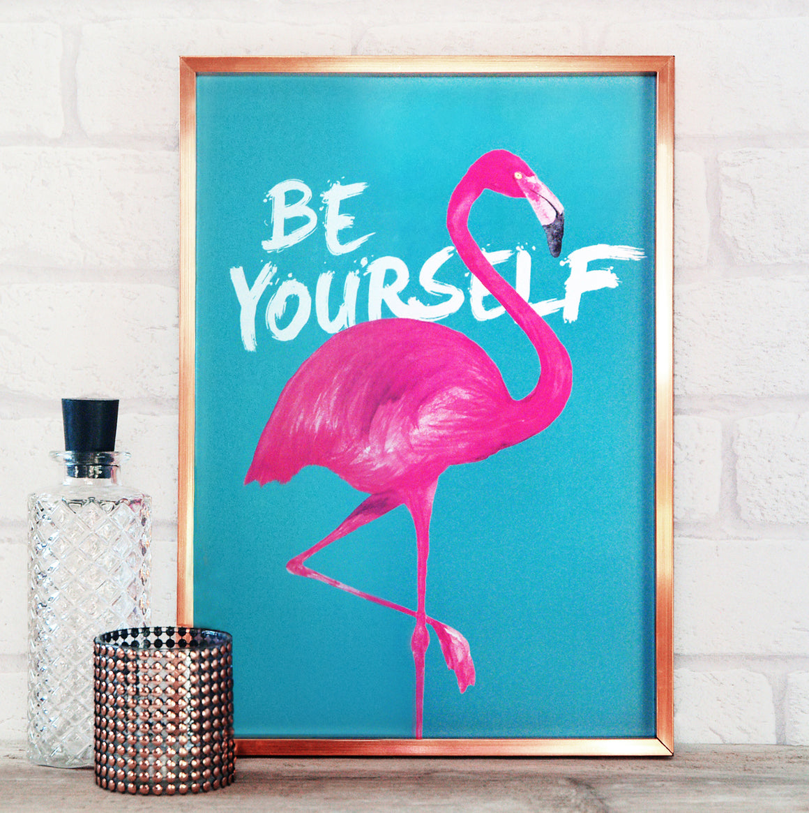 Modern Be Yourself Flamingo Print