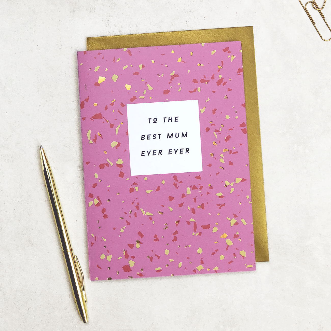 To The Best Mum Ever Card Terrazzo