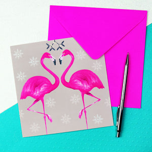 flamingo christmas card in fawn
