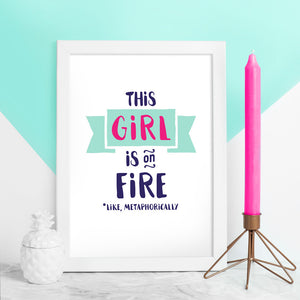 girl on fire framed print