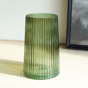 Ribbed Glass Vase - Green