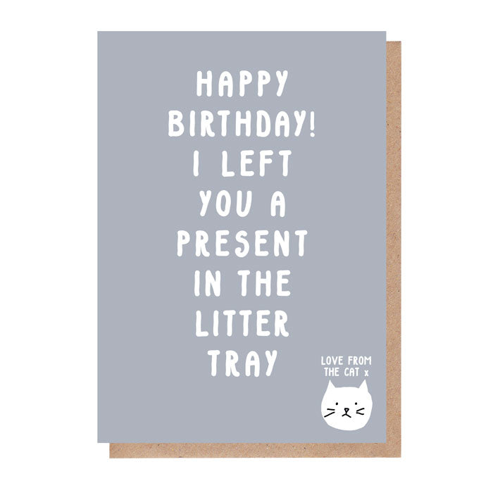 litter tray birthday card from the cat