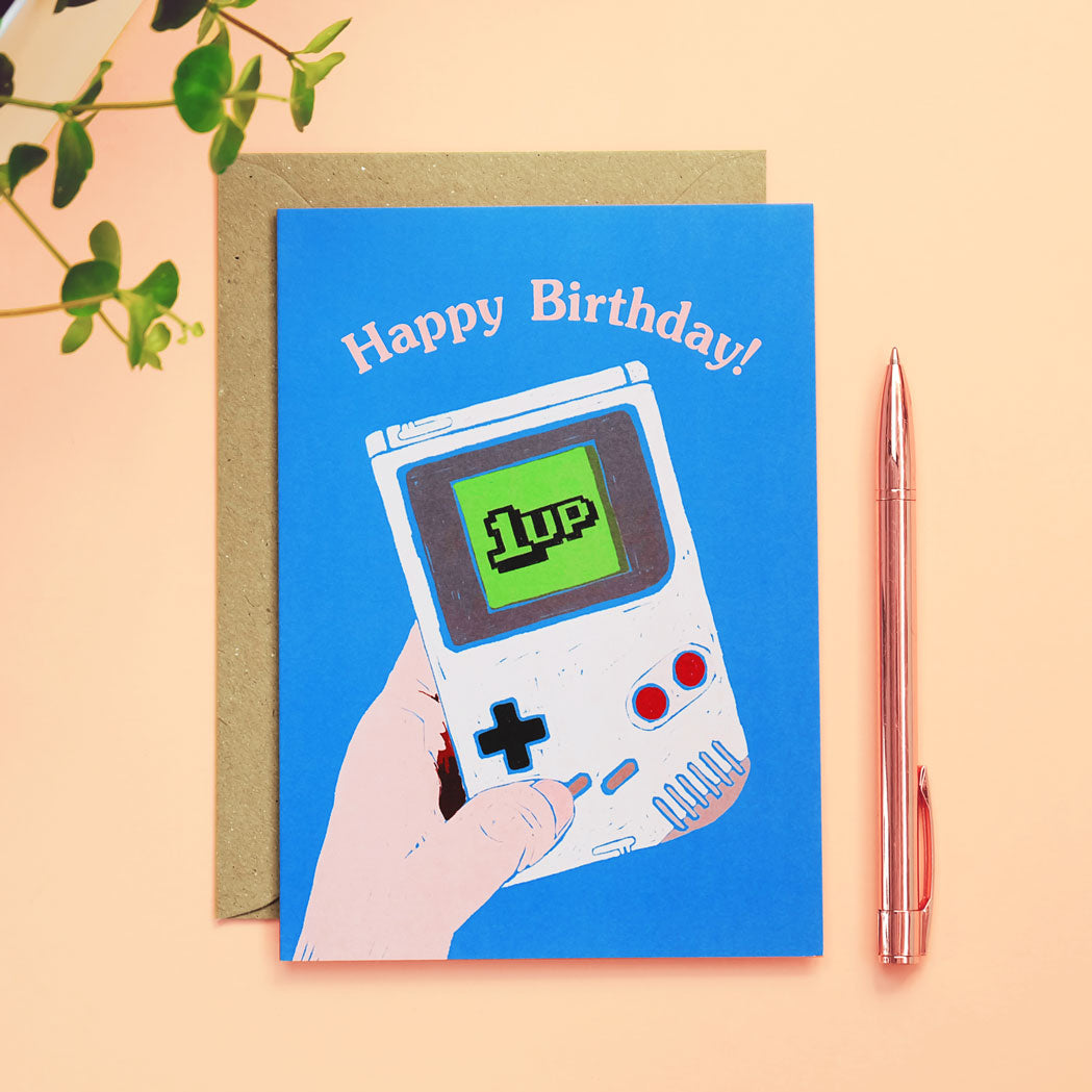 1Up Gameboy Birthday Card
