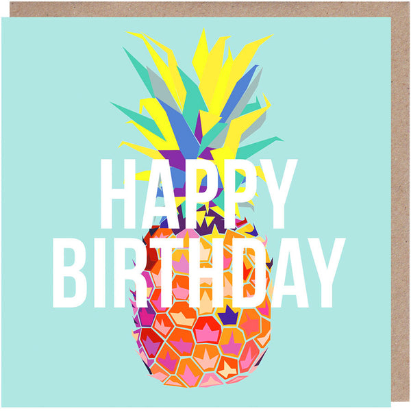 Tropical Pineapple Birthday Card Paper Plane
