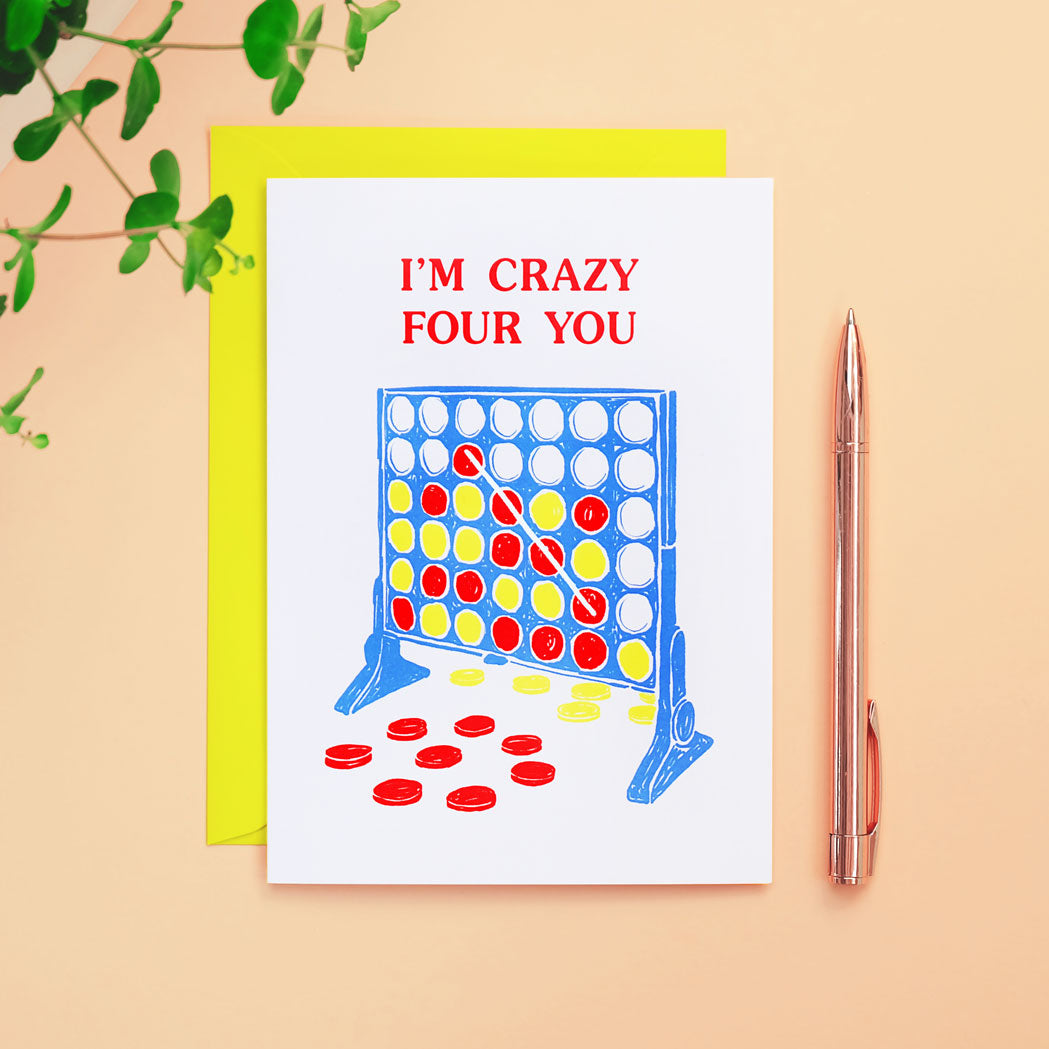 I'm Crazy Four You Card 90s Retro Valentine's Card