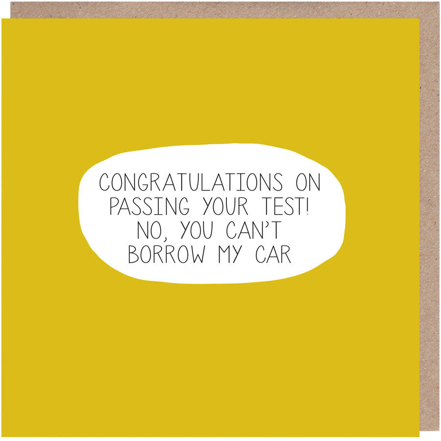 funny driving test card