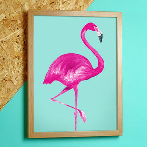 framed flamingo print