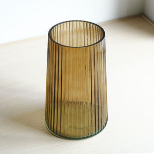 Ribbed Glass Vase - Taupe