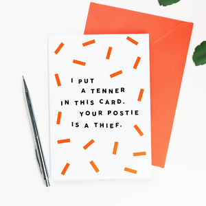 Your Postie Is A Thief Birthday Card