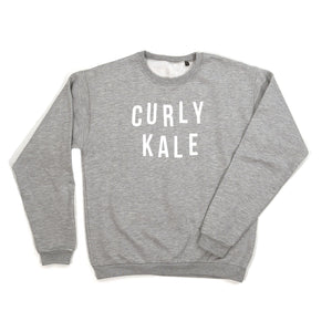 Women's Curly Kale Grey Food Slogan Sweatshirt