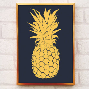 gold pineapple print framed