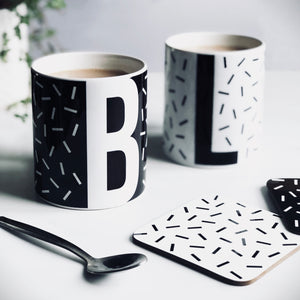 Personalised Initial Confetti Sprinkle Mug black and white