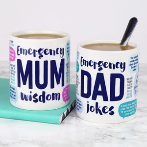 Mum Wisdom and Dad Jokes mugs