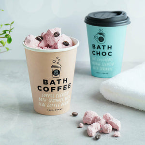 Biodegradable bath coffee and chocolate fizz