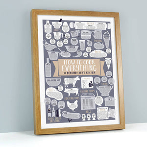 Personalised How To Cook Everything Print oak frame