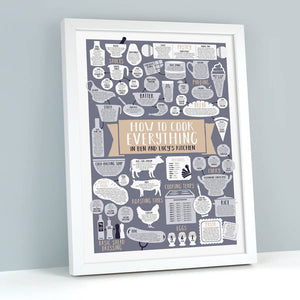 Personalised How To Cook Everything Print white frame
