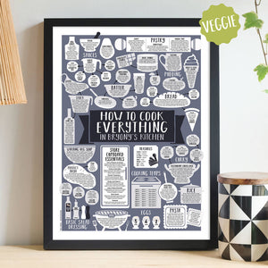 Personalised How To Cook Everything Vegetarian Print black frame