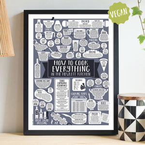 Personalised How To Cook Everything Vegan Print Black Frame