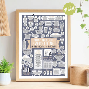 Personalised How To Cook Everything Vegetarian Print oak frame