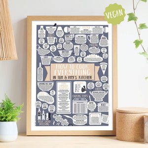 Personalised How To Cook Everything Vegan Print oak frame
