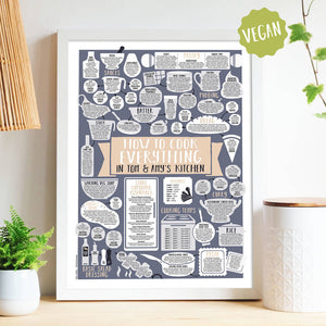 Personalised How To Cook Everything Vegetarian Print white frame