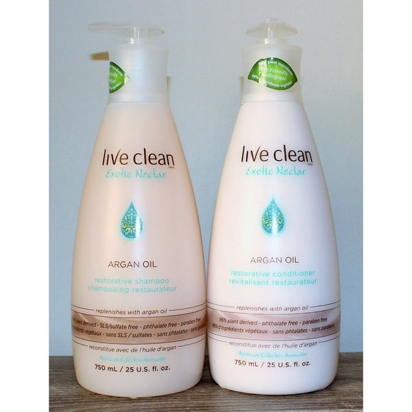 Live Clean  Exotic Nectar Argan Oil Shampoo  750ml with Pump - Hairlight Hair & Beauty