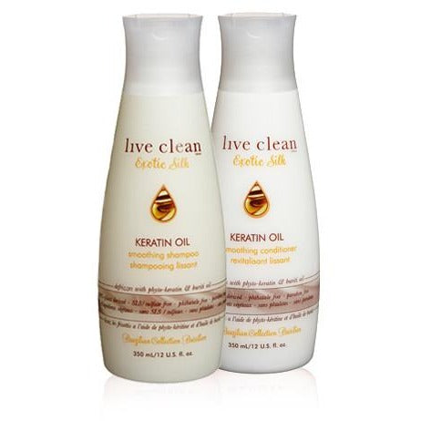 Live Clean Exotic Silk Keratin Oil Smoothing Shampoo 350ml - Hairlight Hair & Beauty