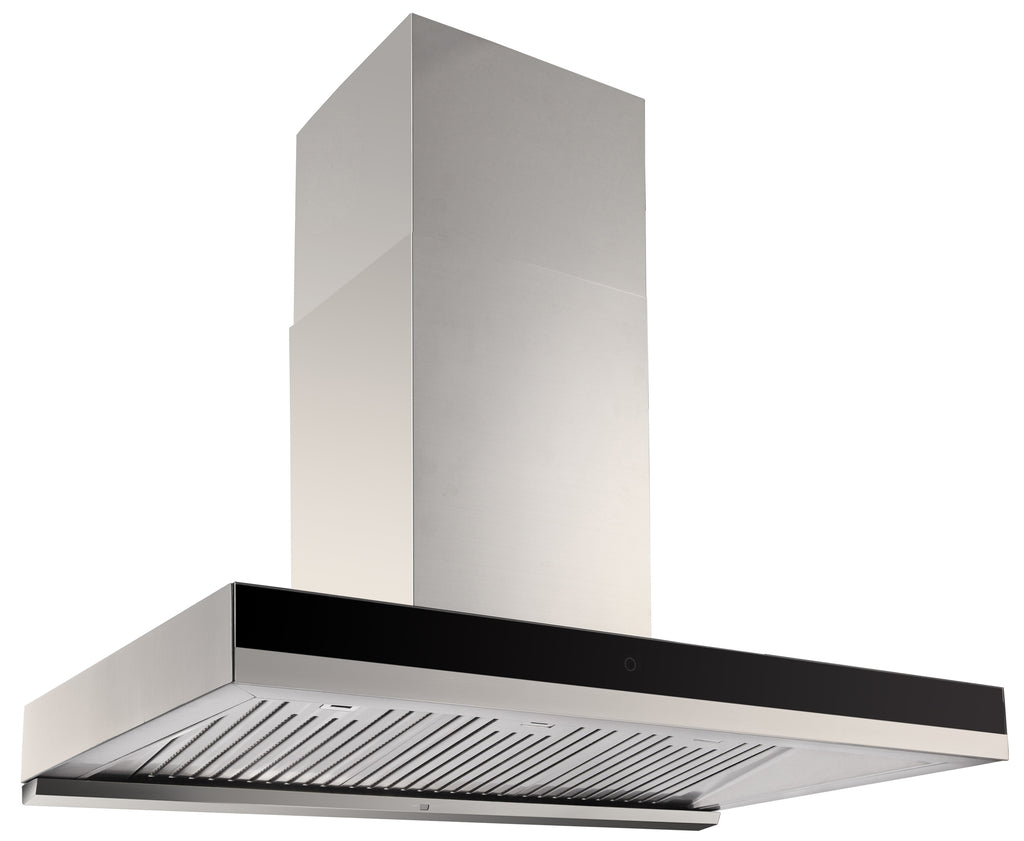 BLACK GLASS BAFFLE FILTER Q SERIES RANGEHOOD - 900MM