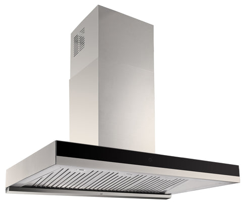 BLACK GLASS BAFFLE FILTER RANGEHOOD - 900MM