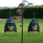 Decorative yet sturdy feeder pole. Two ornate hook arms for hanging feeders or drinkers together with a grounding spike which allows the pole to be easily erected and maintain stability in the ground. The decorative spiral detail bird feeder pole is perfect is perfect for use with the Quill Squirrel Baffle and Garden Bird Drinker.
