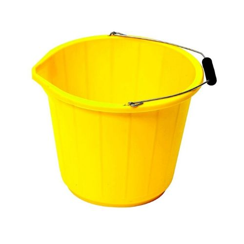 A large yellow bucket with a 15 litre / 3 gallon capacity for a variety on purposes on the farm or around the rearing field