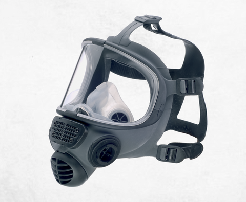 Din 40 full face respirator with unique contoured 'T' sealing edge for comfortable and efficient fit.