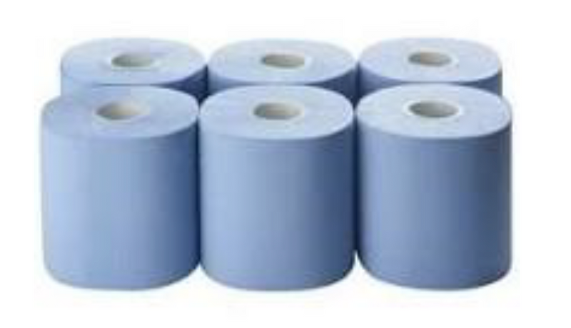 Blue Centrefeed Roll 2ply 180mm x 120m.  Pack of 6.